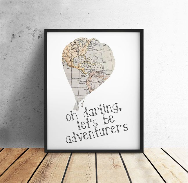 Travel Quote, Oh Darling Let's Be Adventurers, Vintage Map, Hot Air Balloon, PRINTABLE Art, Nursery, Home Decor, 8x10 Digital Download