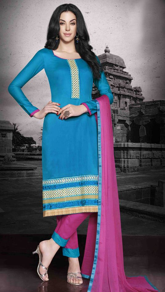USD 26.00 Turquoise Cotton Churidar Suit 48433
