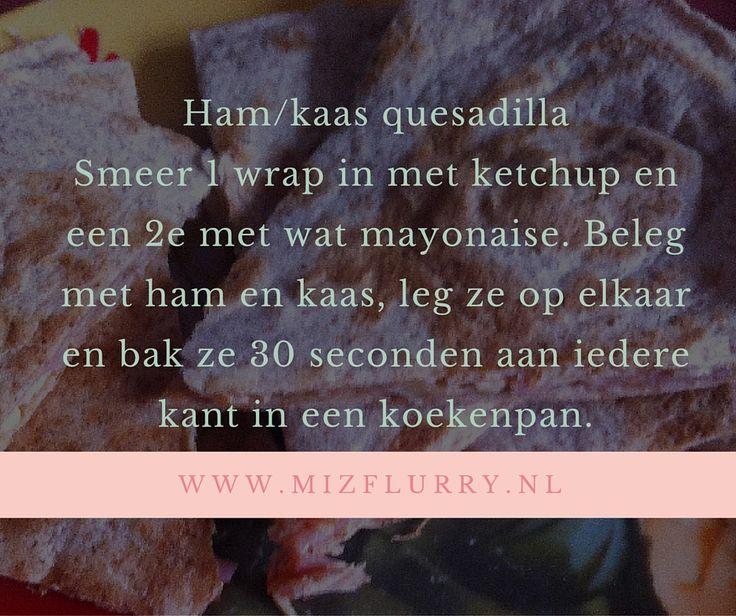 Als ik geen zin heb ik boterhammen, maak ik vaak quesadilla's. Ook heel geschikt om mee te nemen naar een picknick of een dagje pretpark.   #kortetip #recept #quesadilla #hamkaas #lunch