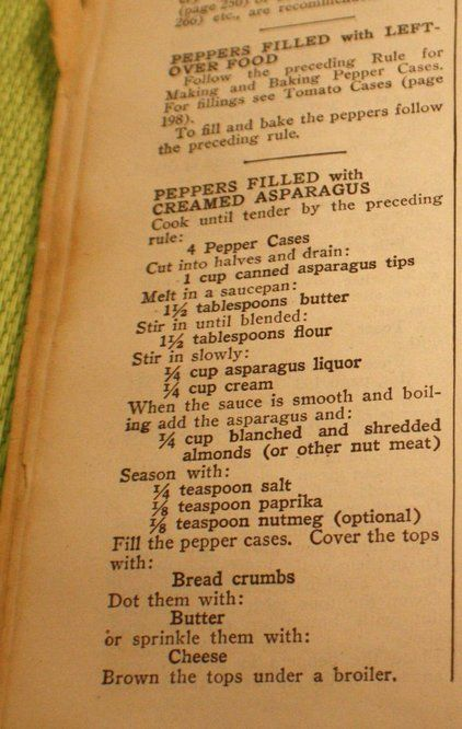 """THe History of Bell Peppers Check out the 1946 Stuffed Pepper """"Vessels"""" recipes from Joy of Cooking."""