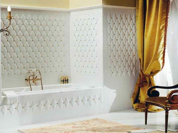 Bathroom:Astonishing Home Interior Ideas: With Minimalist Bathroom Design Fascinating Bathroom Design With White Minimalist Ideas And Contemporary Gold Shower And Adorable Chandeliers And Yellow Curtains And Wood Chairs And Orange Bathroom Rugs And Sexy White Bathub