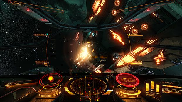 Elite Dangerous cockpit HUD