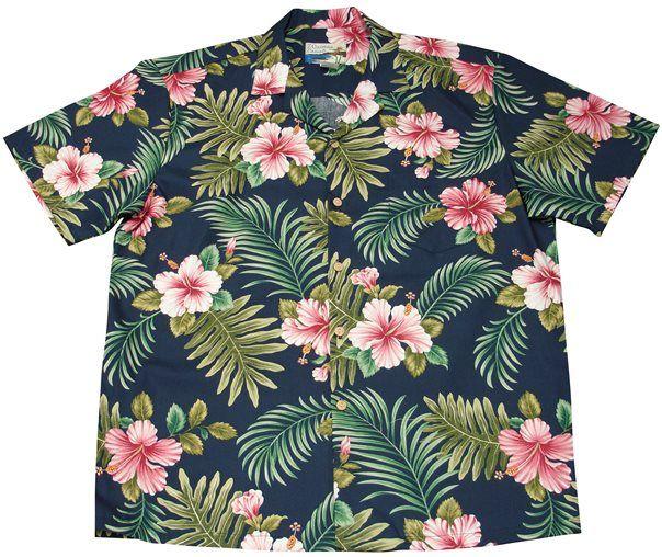 bd81e23e49d70 Hibiscus Fern Navy Cotton Men s Hawaiian Shirt in 2018