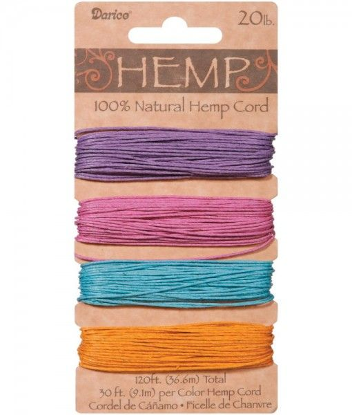 100% Hemp Cord – Pastels variety. This is an Earth friendly alternative to other synthetic cording! Strong and durable, it's excellent for scrapbooking, making belts, necklaces, bracelets and more! This package contains one card of 36.6 metres (120 feet) of 9kg (20lb) hemp: 9.1m (30ft) each of colours Pale Lavender, Dusty Pink, Pale Baby Blue and Pale Gold.  Buy online from 2wards Polymer Clay. There is a large range of colour combinations to select from.