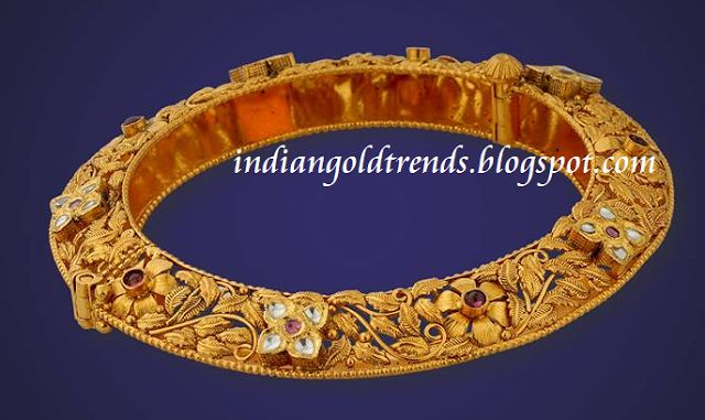 Latest Indian Gold and Diamond Jewellery Designs: antique bangles