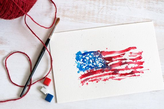 Modern Abstract Art USA Flag Watercolor 6x9 Small art by sanketi