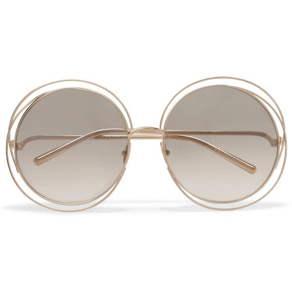 Chloé Carlina round-frame gold-plated sunglasses ($1,100) ❤ liked on Polyvore featuring accessories, eyewear, sunglasses, gold, square sunglasses, uv protection sunglasses, chloe glasses, chloe sunglasses and retro sunglasses