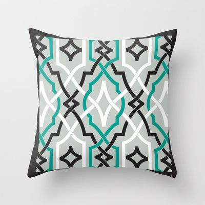 classic modern lattice in black, grey, white & teal Throw Pillow