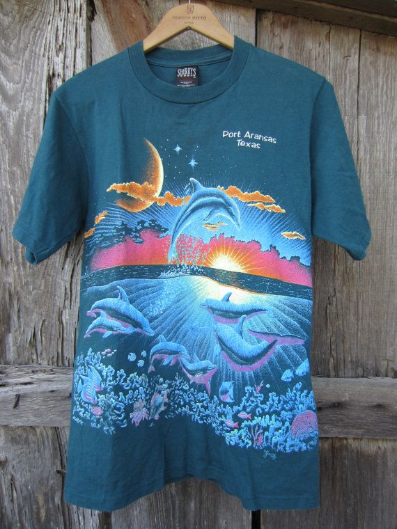 80s/90s Green Port Aransas Texas Souvenir T-Shirt, Men's S-M, Women's M-L // Vintage Dolphin Print Tee
