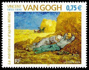2004 French stamp commemorating Vincent Van Gogh (1853–1890) La méridienne´après Millet