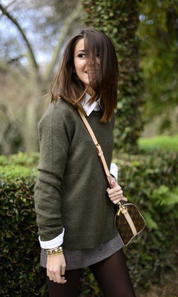 #fall #fashion / green + knit layers