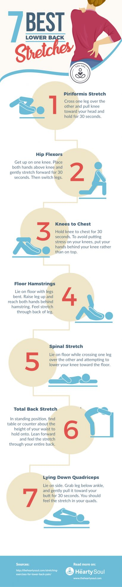 7 of the best lower back stretches for low back pain.  Read on to learn more!