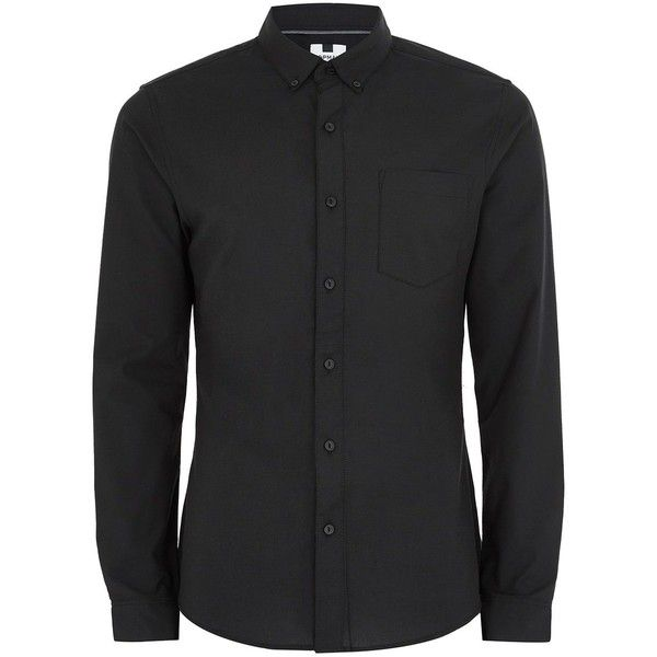 TOPMAN Black Muscle Fit Oxford Shirt ($31) ❤ liked on Polyvore featuring men's fashion, men's clothing, men's shirts, men's casual shirts, black, mens fitted shirts, mens cotton oxford shirts, mens cotton shirts, oxford mens shirts and mens stretch shirts