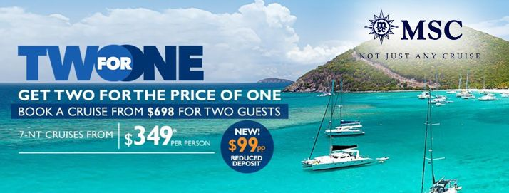 AMAZING DEALS Offered By MSC Cruise Lines Through May - Cheap cruises for two