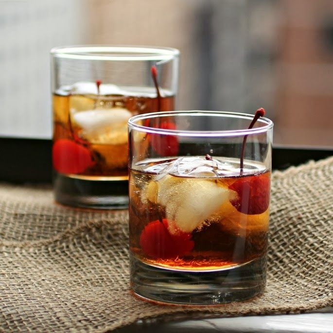 The Manhattan: 2 oz. Whiskey 1 oz. Sweet vermouth Dash of angostura bitters Marachino cherry for garnish