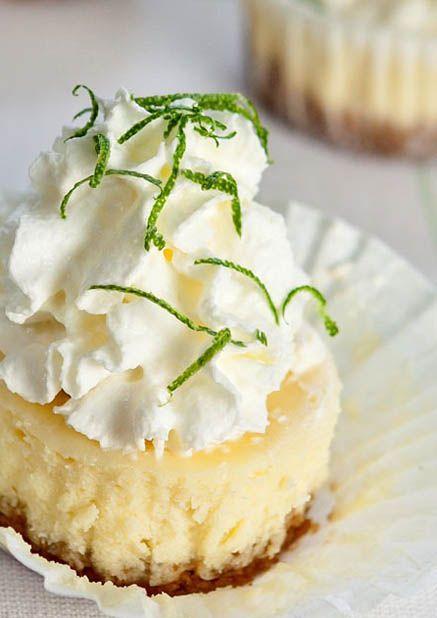 mini key lime cheesecakes with macadamia graham cracker crusts