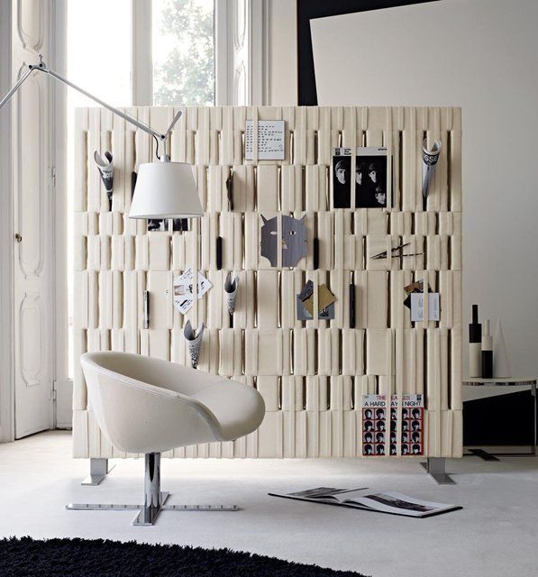A cute and very useful idea for a wall screen. You can use it as a storage