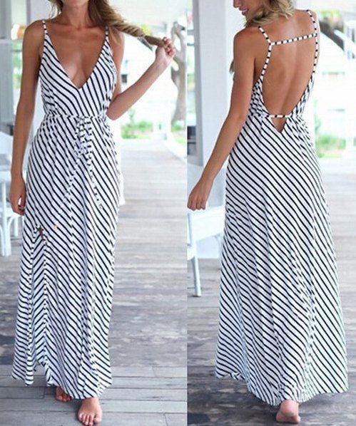 »Bohemian Plunging Neckline Striped Backless Dress« #fashion #fashionandaccessories #twinkledeals