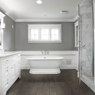 Incroyable Stand Alone Jacuzzi Tubs | ... On Marble Countertops Stand Alone Tub Dark  Flooring. Bathroom With Wood FloorBathroom ...