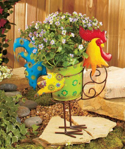 Amazon.com : Vibrant Rooster Chicken Country Barnyard Whimsical Colorful Metal Garden Flower Pot Planter Adorable Spring Plant Herb Flowers Holder Yard Decor : Patio, Lawn & Garden