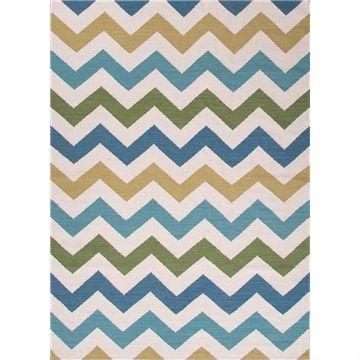 Handmade Flat Weave Herringbone Woolen Rug in White/Capri - 152x243cm