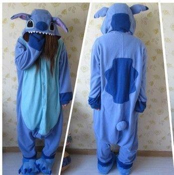 Designer Kawaii Anime Animal Blue Lilo Stitch Pajamas Adult Unisex Women Men Onesie Polyester Polar Fleece One Piece Sleepwear