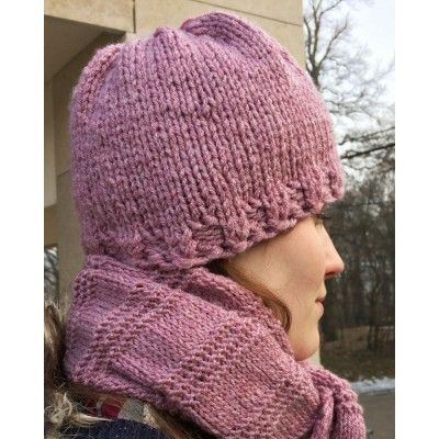 Hand-Knitted Set Cap&Scarf - Malva