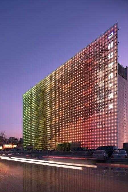 led wall building facade