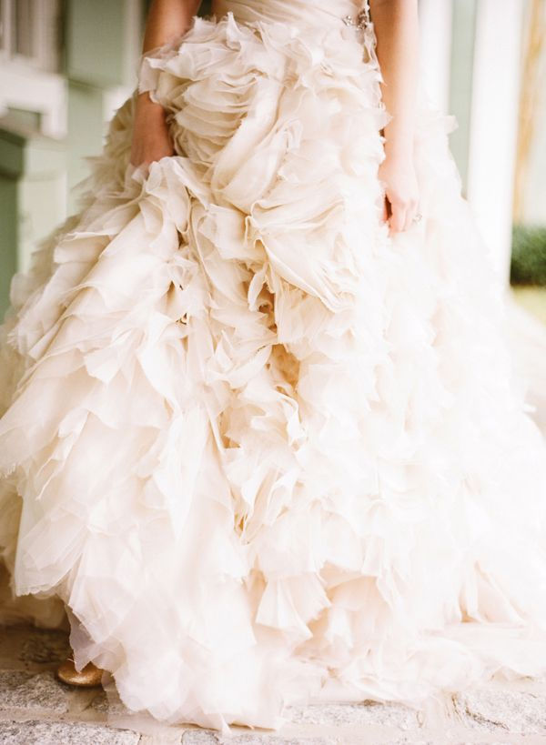 These #ruffles would look gorgeous with Happily Ever Borrowed's Medallion Crystal Rhinestone Belt. We're dying to put them together!!