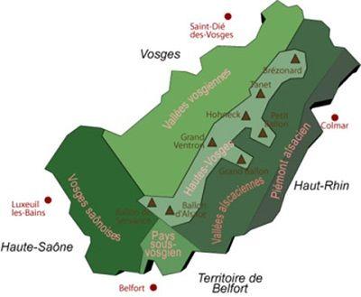Vosges-carte-hautes-vosges-Saint-Dié-des-Vosges-Luxeuil-Les-Bains-Colmar-BelfortFrance-Europe