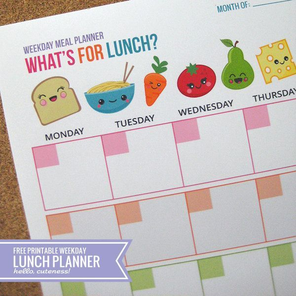 What a cute printable for lunch planning! Perfect for the stay-at-home mom, homeschooler, day care provider or ambitious brown bag lunch packer! Via Hello Cuteness