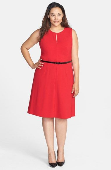 Calvin Klein Belted Sleeveless Fit & Flare Dress (Plus Size) available at #Nordstrom
