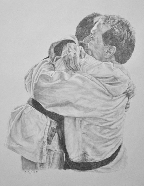 """Job Well Done"" -Karate instructor with his new Black Belt student. Pencil portrait."
