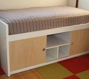 200 used ikea bangsund elevated twin bed with storage shelves underneath girls bedrooms. Black Bedroom Furniture Sets. Home Design Ideas