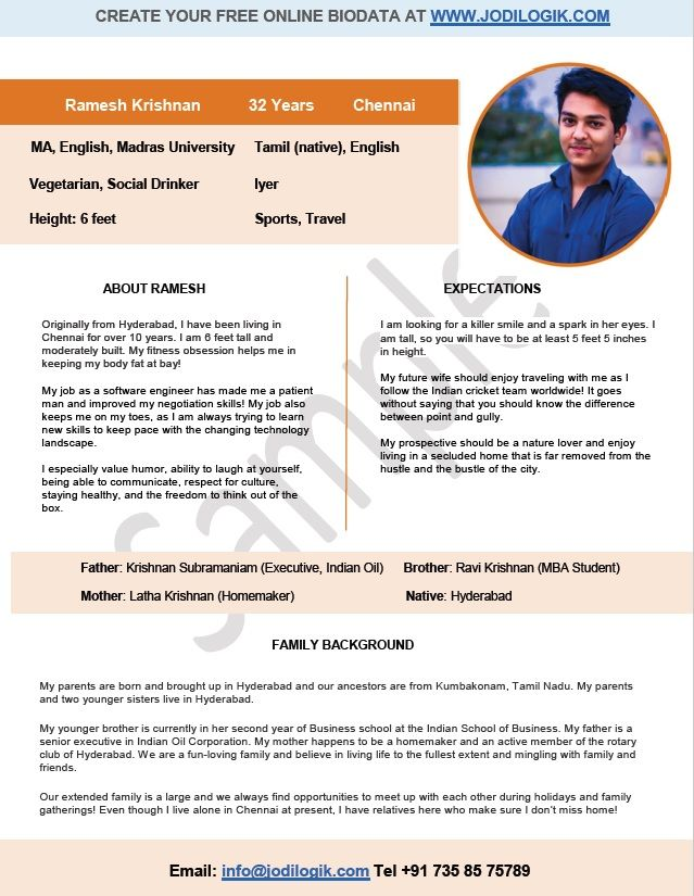 biodata sample for a software engineer in 2019