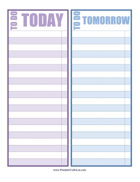 Two columns are colored purple and blue and designated for today and tomorrow in this printable to do list. Free to download and print
