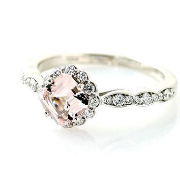 Palladium Asscher Morganite Diamond Engagement Ring Custom Bridal Jewelry