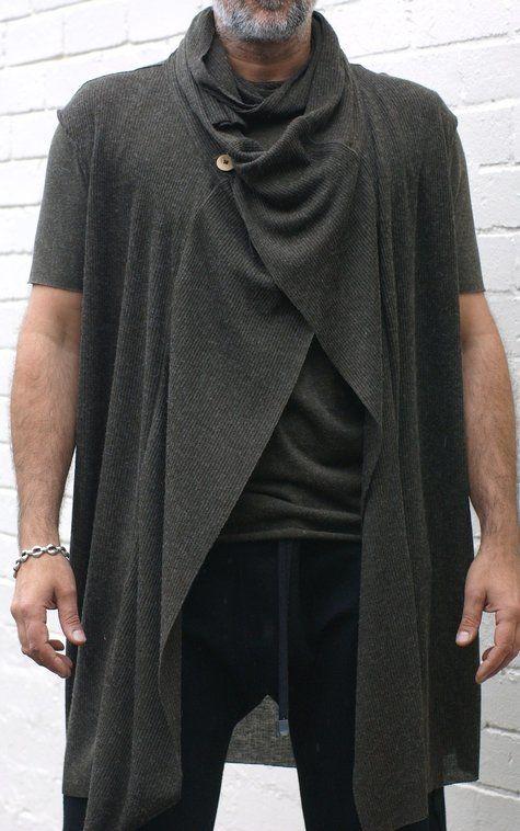 t shirt and sleeveless drape cardigan