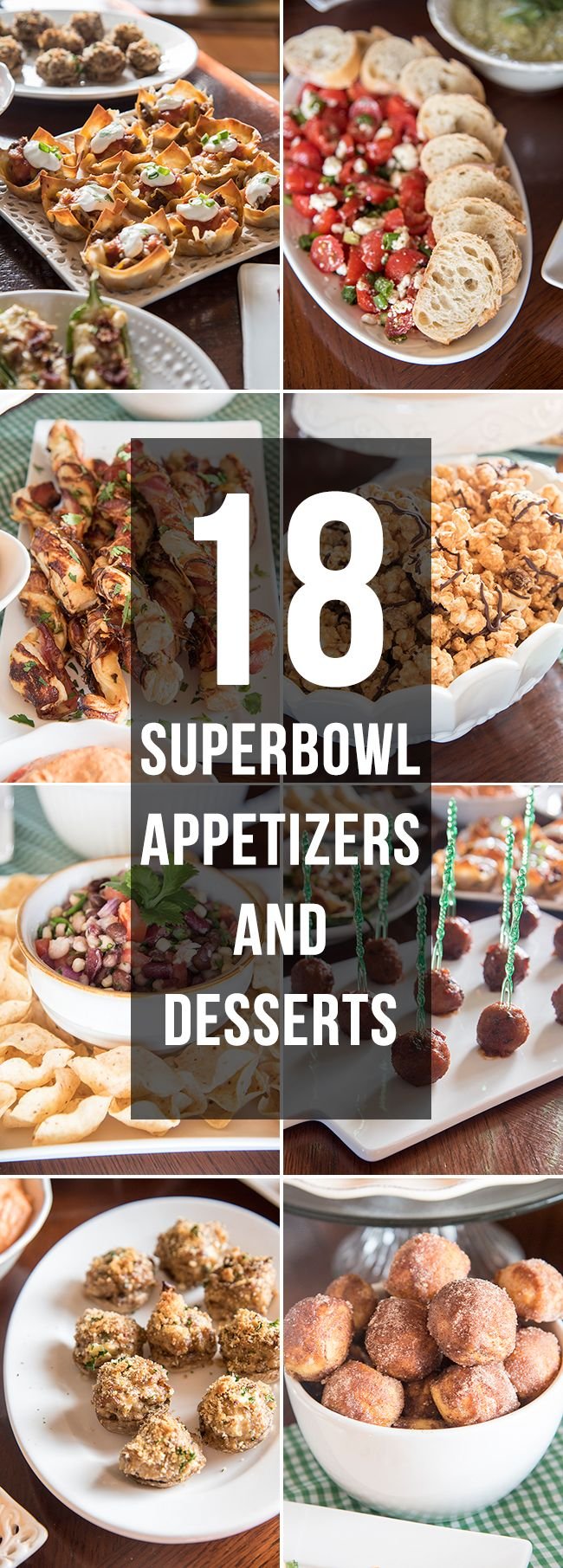 Over 18 of the best delicious superbowl appetizers and desserts! If you need an idea for what to make for the superbowl, we've got you covered!