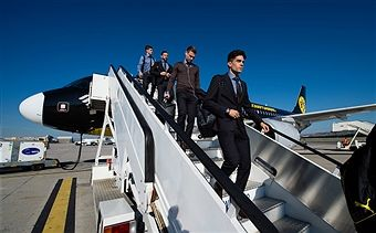 Marc Bartra of Borussia Dortmund arrival in Madrid Airport prior to the UEFA Champions League match between Real Madrid and Borussia Dortmund at Estadio Santiago Bernabeu on December 6, 2016 in Madrid, Spain.