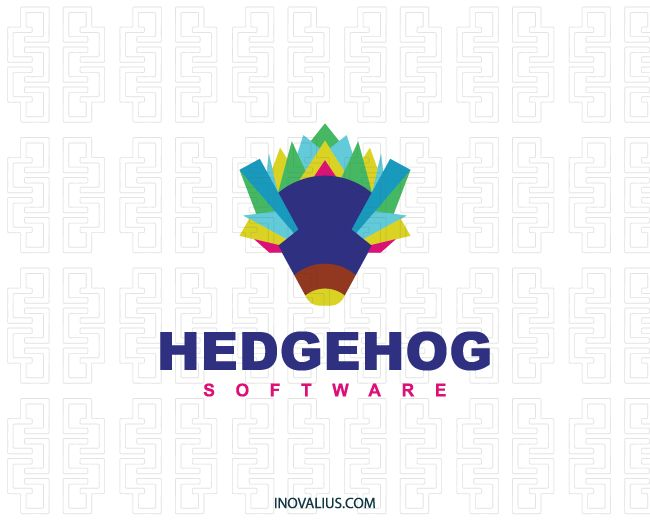 Animal logo with the shape of a hedgehog composed of abstract shapes with green, blue, yellow, pink and purple colors.( software, hedgehog, porcupine, animal, abstract, artistic, entertainment, party, angry, coloring, pet shop, hedgehog pet, hedgehog cute, art,  logo for sale, logo design, logo, lototipo, logotype).