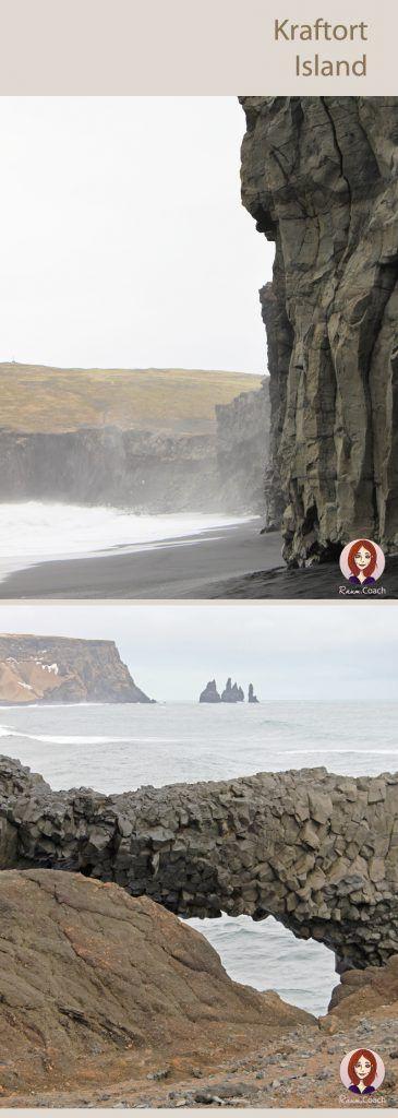 Steile Basalt-Klippen und Steinbögen an Islands Black Beaches Reynisfjara und Kirkjufjara beim Cap Dyrhólaey.