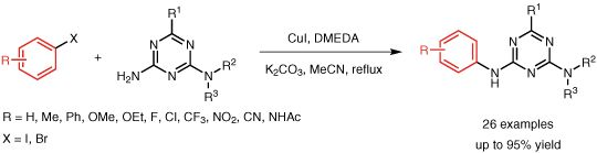 Synthesis of 2-Arylamino-1,3,5-triazines from 2-Aminotriazines with Aryl Halides via CuI-Catalyzed Ullmann Coupling Reaction DOI: 10.1055/s-0035-1561632