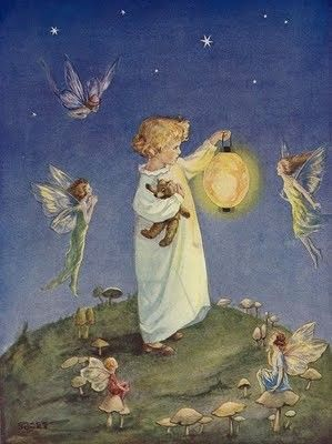 fairy lantern pretty magical enchanted fairy and pixie folk illustration for childrens bedroom vintage style