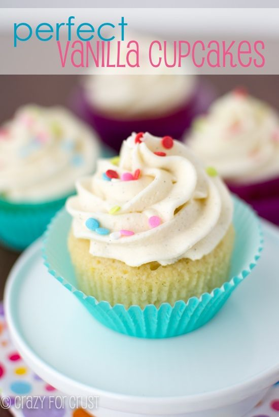 These Perfect Vanilla Cupcakes are perfect in every way, from the cupcake to the frosting to the filling!