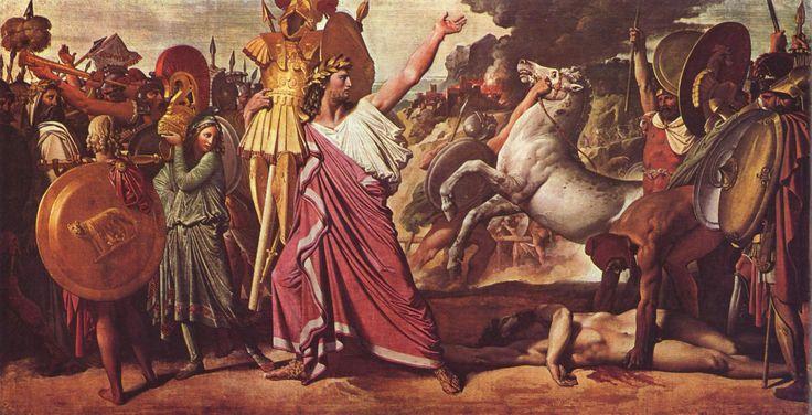 Romolo il Fondatore. Romolo, uccisore di Acrone, porta le sue spoglie al tempio di Giove dipinto di Jean Auguste Dominique Ingres, 1812