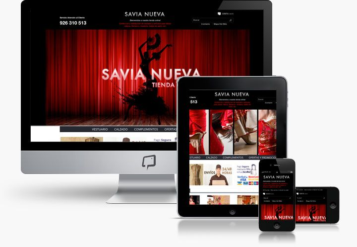 www.basicum.es/portfolio-item/diseno-tienda-online-savianuevatienda/ Diseño web Responsive de Tienda de Ropa Flamenca creado por Basicum.es