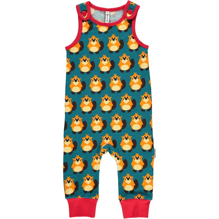 Beaver Playsuit  from Maxomorra. Made from GOTS Certified Organic Cotton. Available at Modern Rascals.