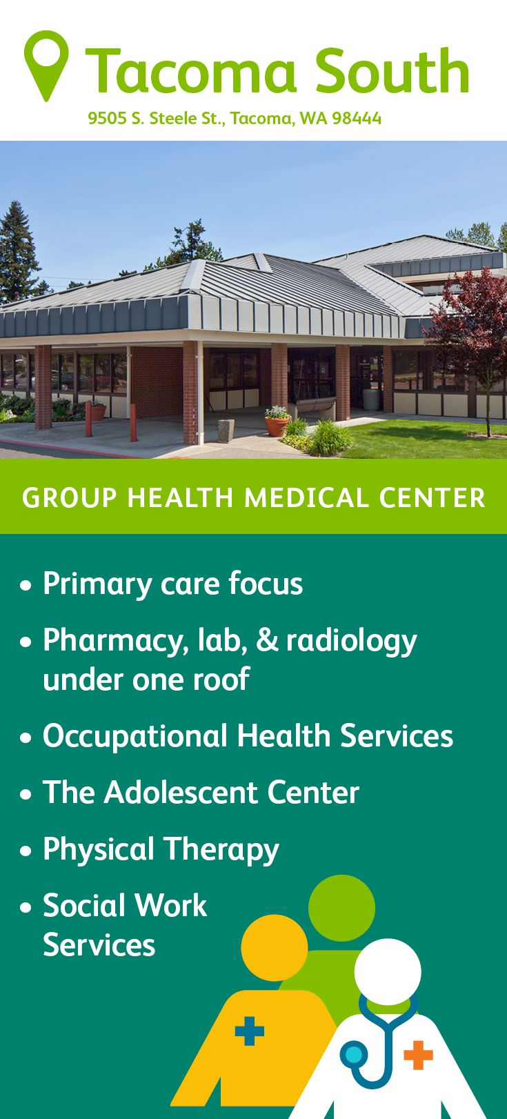Health south physical therapy - The Group Health Tacoma South Medical Center Features Primary Care Delivered By Family Medicine And Pediatric