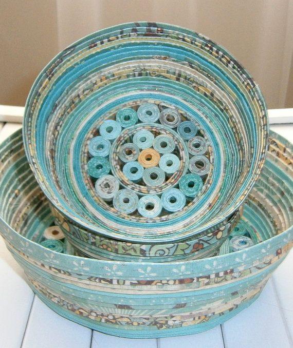 Reciclado en espiral papel Basket Bol hecho a por BlueTangDesigns